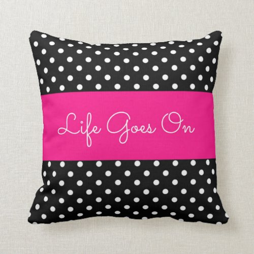 polka dot black and white pillow