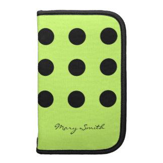 Polka Dot Black Custom Name Lime Green Organizer
