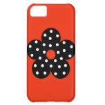 Polka Dot Black Flower with Orange Background iPhone 5C Case