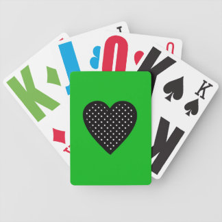 Polka Dot Black Heart with Green Background Bicycle Poker Deck