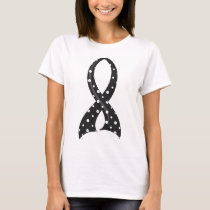 Polka Dot Black Ribbon Melanoma T-Shirt