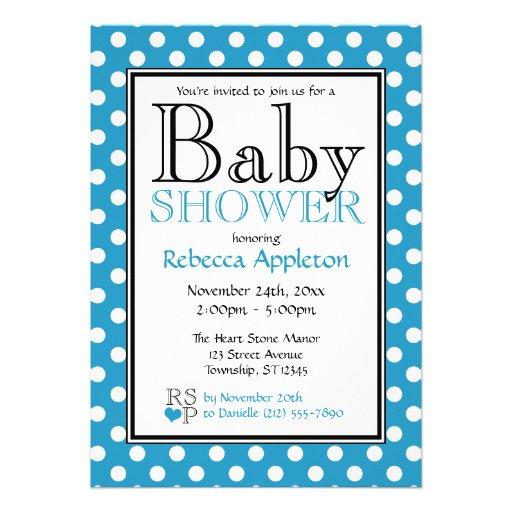 Polka Dot Blue Baby Shower Invitations