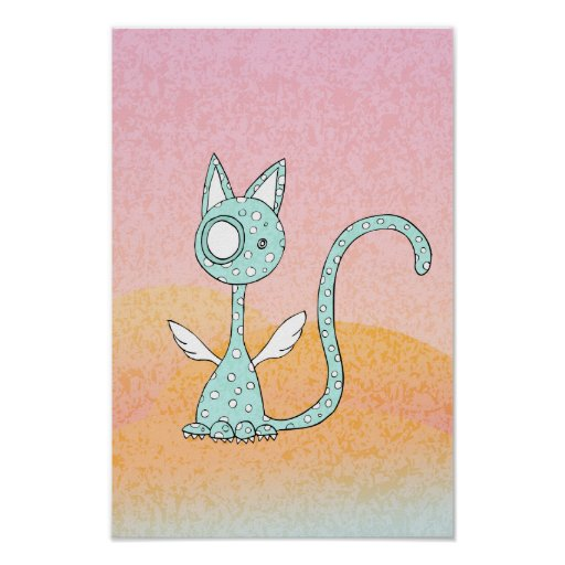 Polka-dot Blue Cat in Dreamland - poster