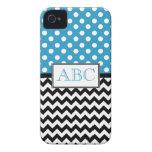 Polka Dot Blue & Chevron iPhone 4/4S Case iPhone 4 Cases