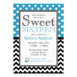 Polka Dot Blue & Chevron Sweet Sixteen Invitations