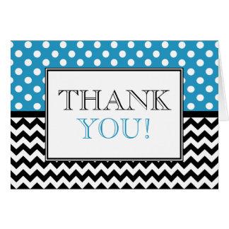 Polka Dot Blue & Chevron Thank You Card