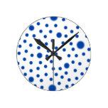 Polka Dot Blue Clock