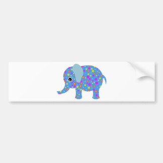 POLKA DOT BLUE ELEPHANT BUMPER STICKER