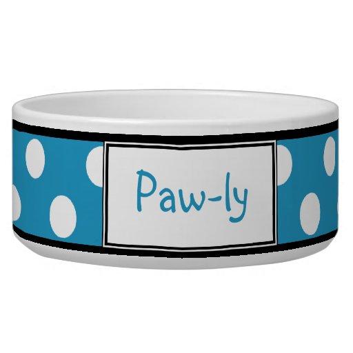 Polka Dot Blue Personalized Dog Bowl