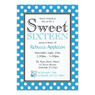 Polka Dot Blue & White Sweet Sixteen Invitations