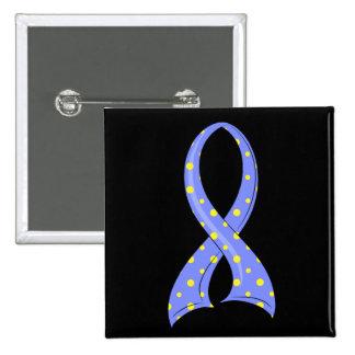 Polka Dot Blue Yellow Ribbon Down Syndrome Buttons