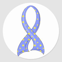 Polka Dot Blue Yellow Ribbon Down Syndrome Classic Round Sticker