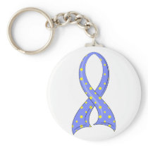 Polka Dot Blue Yellow Ribbon Down Syndrome Keychain