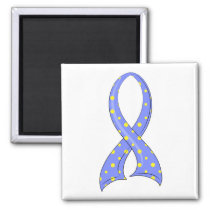 Polka Dot Blue Yellow Ribbon Down Syndrome Magnet