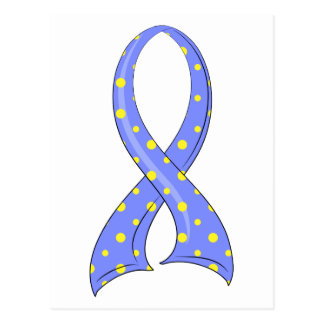 Polka Dot Blue Yellow Ribbon Down Syndrome Postcard