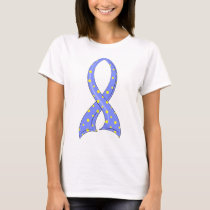 Polka Dot Blue Yellow Ribbon Down Syndrome T-Shirt