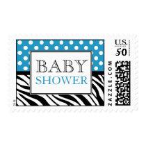 Polka Dot Blue & Zebra Print Baby Shower Postage