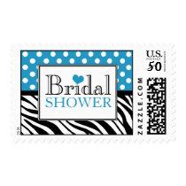 Polka Dot Blue Zebra Print Bridal Shower Postage