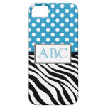 Polka Dot Blue & Zebra Print iPhone 5 Case