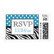 Polka Dot Blue & Zebra Print RSVP Postage Stamps