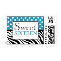 Polka Dot Blue & Zebra Print Sweet Sixteen Postage