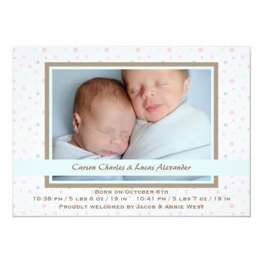 Polka Dot Border Blue Photo Birth Announcement