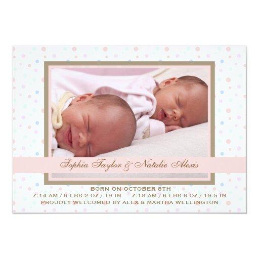 Polka Dot Border Pink Photo Birth Announcement