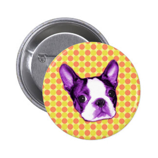 Polka Dot Boston Terrier Puppy Button