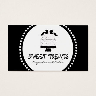 Polka Dot Bow Cake Bakery Business Cards