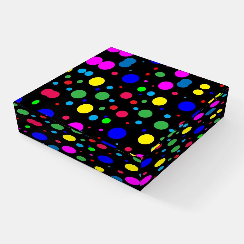 Polka Dot Bubble Ballons Pattern Glass Paperweight