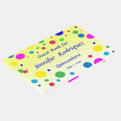 Polka Dot Bubble Balloon Quinceañera Guest Book