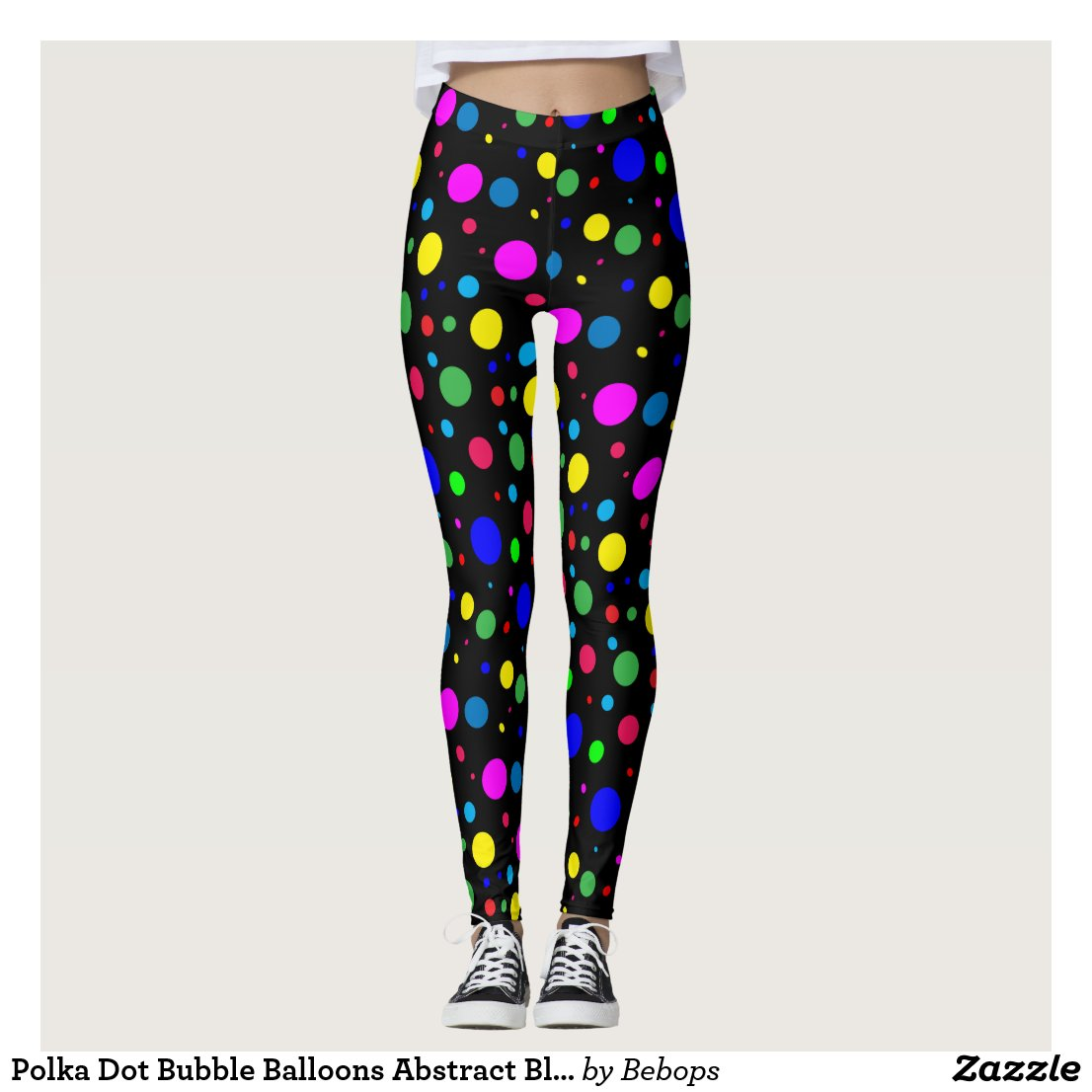 Polka Dot Bubble Balloons Abstract Black Leggings