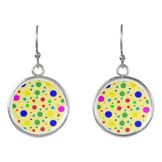 Polka Dot Bubble Balloons on Yellow Drop Earrings