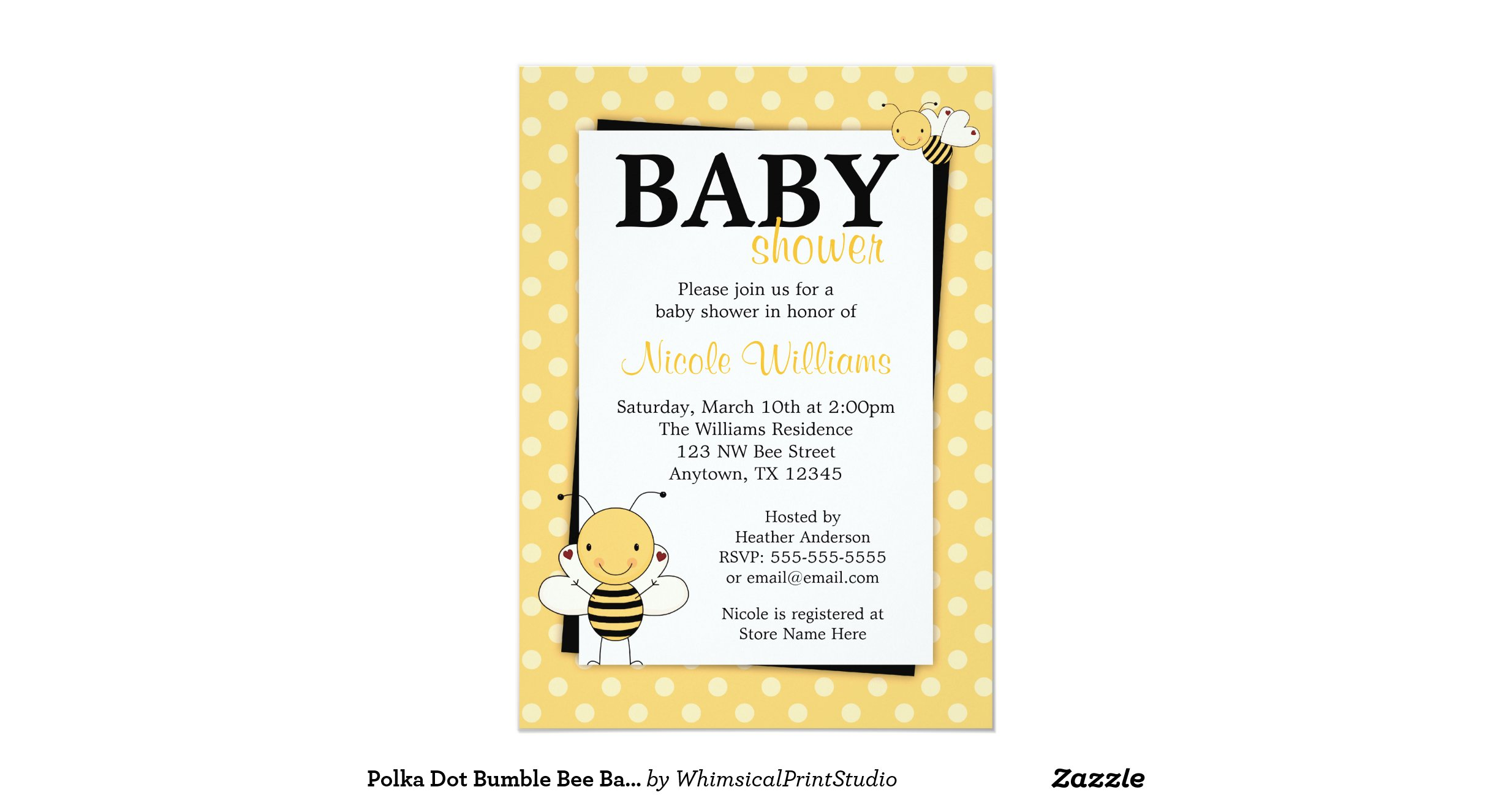 polka dot bumble bee baby shower invitations