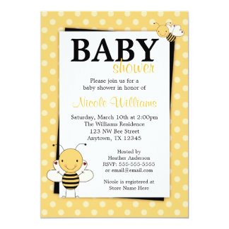 Polka Dot Bumble Bee Baby Shower Invitations