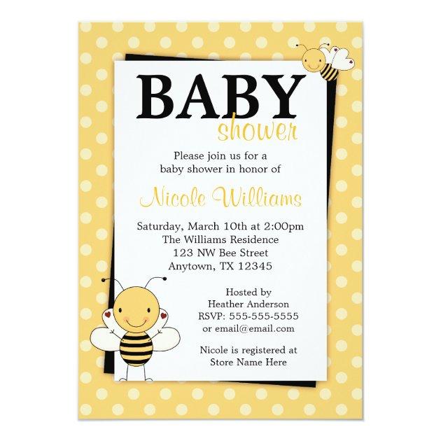 Personalized honey bee invitations custominvitations4u polka dot bumble bee baby shower invitations filmwisefo