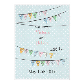 Polka dot & bunting detail wedding save the date card