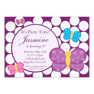 Polka dot Butterfly Birthday Party Invitation