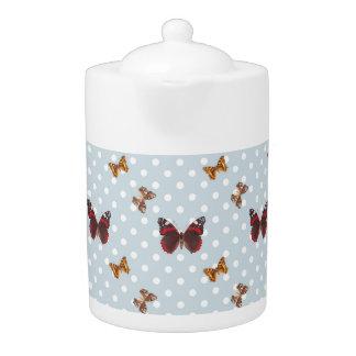 Polka Dot Butterfly Pattern Teapot