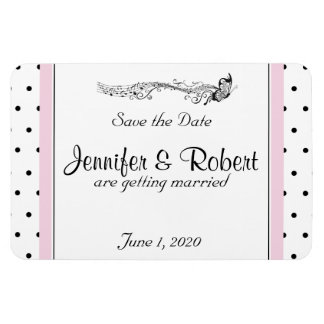 Polka Dot Butterfly Posh Wedding Save the Date Magnet