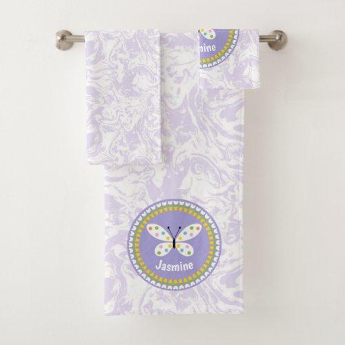 Polka Dot Butterfly | Tulips | Purple Personalized Bath Towel Set
