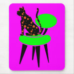 Polka Dot Cat on Chair - Abstract Pop Art Mouse Pad