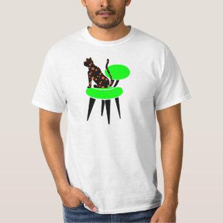 Polka Dot Cat on Chair - Abstract Pop Art T-Shirt