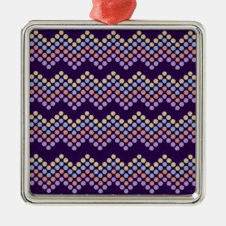 Polka Dot Chevron Metal Ornament