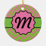 Polka Dot Chevron Pink and Green with Monogram Christmas Tree Ornament