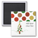 Polka Dot Christmas Tree Customizable Magnet