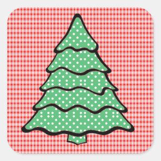 Polka Dot Christmas Tree V4 Square Sticker