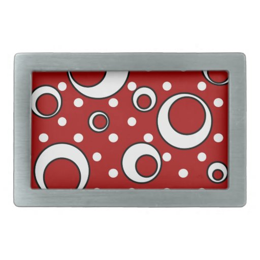 Polka Dot Circles in Red Belt Buckles