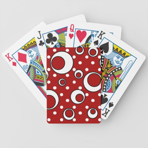 Polka Dot Circles in Red Bicycle Playing Cards