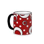 Polka Dot Circles in Red Mug